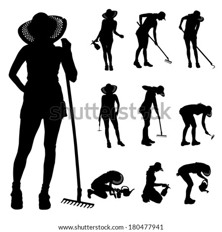 Vector silhouette of a gardener on white background.