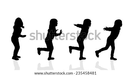 Vector silhouette of a girl on a white background. - stock vector
