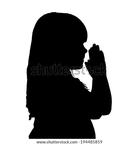 Vector silhouette of a girl who is praying.