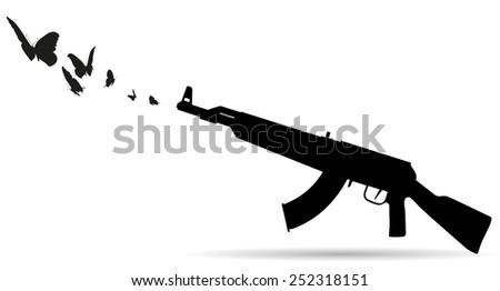 Vector silhouette of a gun that shoots butterflies. - stock vector