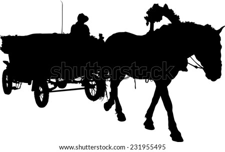 Vector silhouette of a horse put to a cart - stock vector