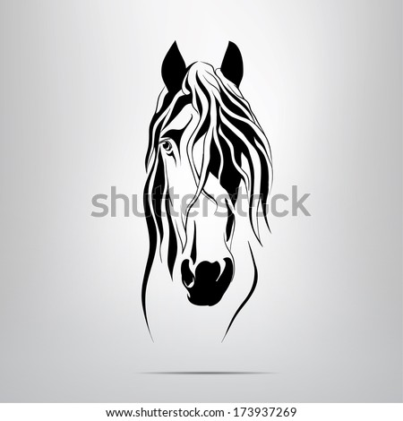 Vector silhouette of a horse's head - stock vector