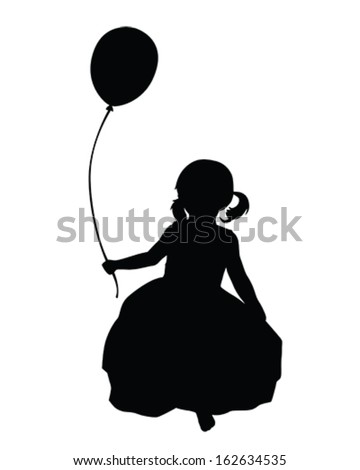 Vector Silhouette of a little girl holding a balloon