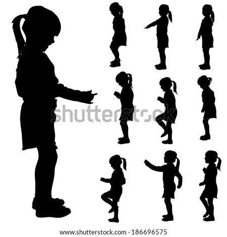 Child Happy Illustration Silhouette Black Stock Vector ...