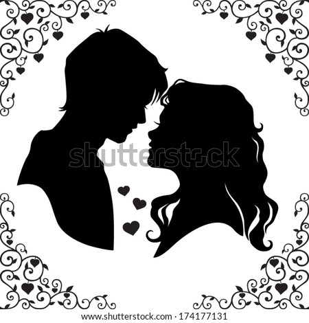 Vector silhouette of a loving couple with beautiful framed isolated on white background  - stock vector