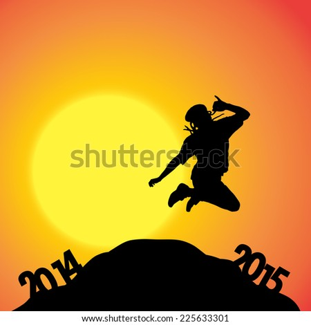 Vector silhouette of a man at the turn of the year.