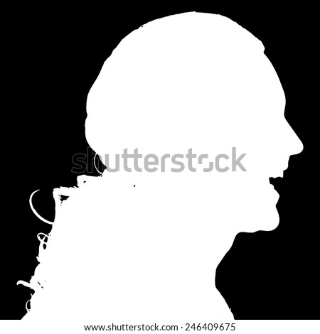 Vector silhouette of a man in profile on a black background.