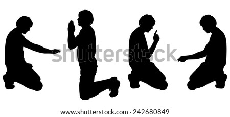 Vector silhouette of a man on white background. - stock vector