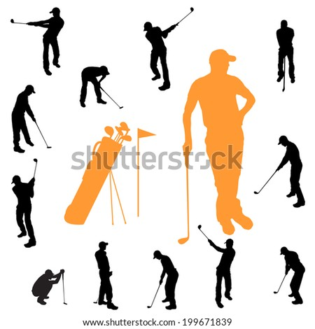 Vector silhouette of a man playing golf. - stock vector