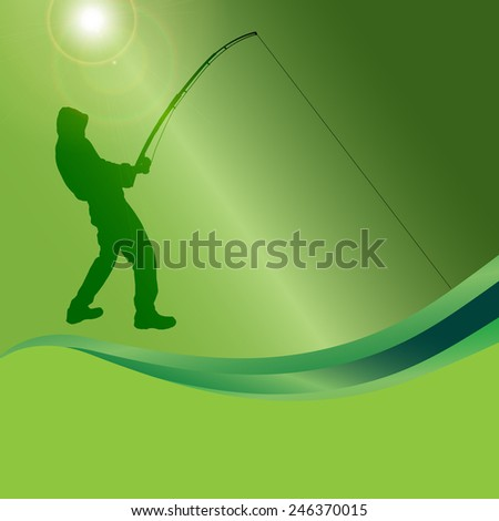 Vector silhouette of a man who fishes on a green background.