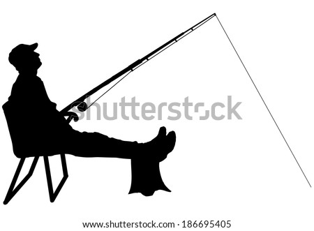 Vector silhouette of a man who fishes on a white background. - stock vector
