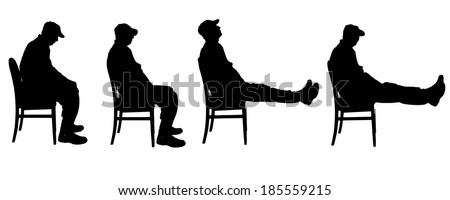 Vector silhouette of a man who is sitting. - stock vector
