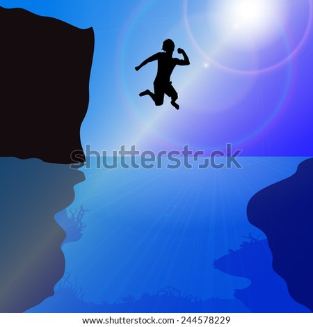 Vector silhouette of a man who jumps into the water.