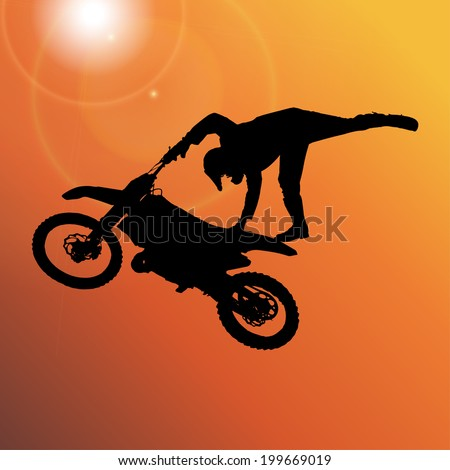 Vector silhouette of a man who jumps on a motorbike. - stock vector