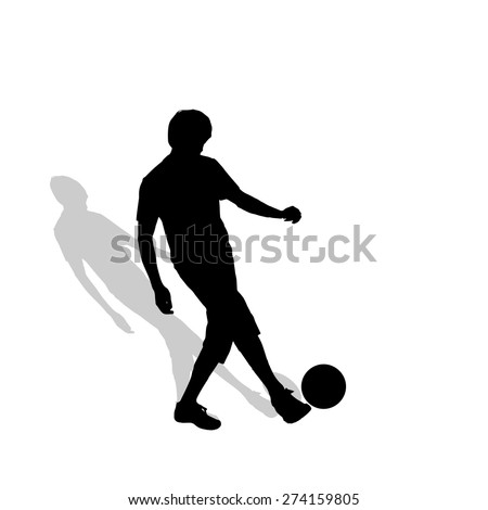 Vector silhouette of a man who plays football.