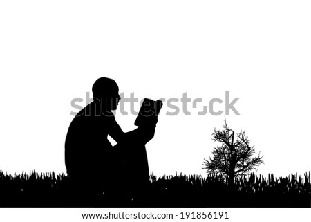 Vector silhouette of a man who reads a book in nature. - stock vector