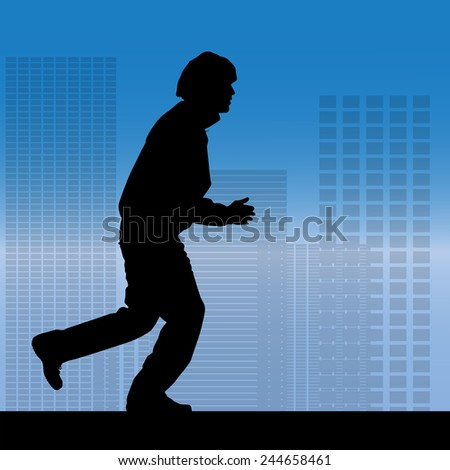 Vector silhouette of a man who running in city. - stock vector