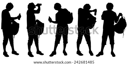 Vector silhouette of a man with a backpack on white background.
