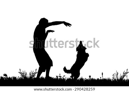Vector silhouette of a man with a dog on a meadow. - stock vector