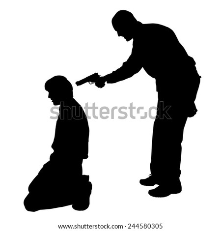 Vector silhouette of a man with a gun on a white background. - stock vector
