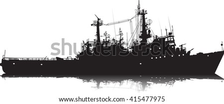 Vector silhouette of a military ship - stock vector
