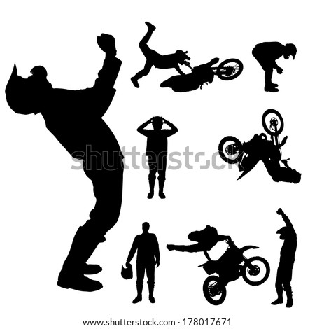 Vector silhouette of a motocross rider on a white background.  - stock vector