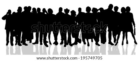 Vector silhouette of a people on a  white background. - stock vector