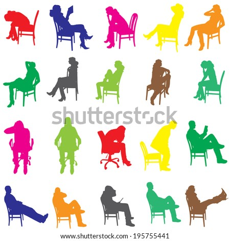 Vector silhouette of a people who is sitting on a chair. - stock vector