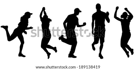 Vector silhouette of a people who run on white background.
