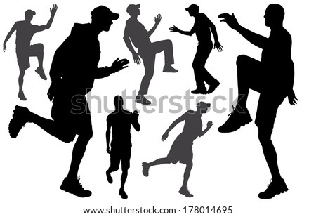 Vector silhouette of a people who runs a white background.