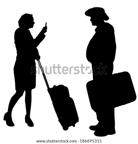 Vector silhouette of a people with a trunk on a white background.