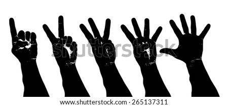 Vector silhouette of a set of human hand making the numeral one to five symbol with their fingers. - stock vector