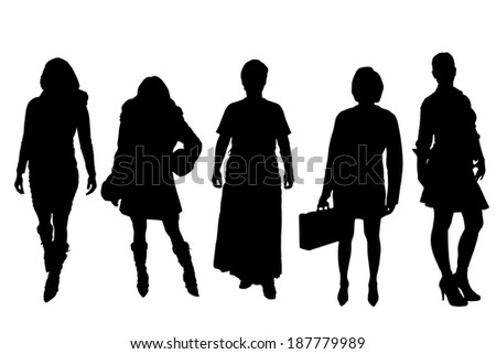 Vector silhouette of a sexy woman on a white background.