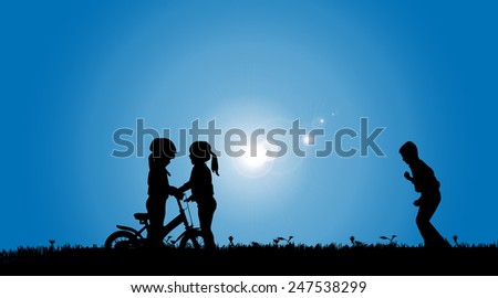 Vector silhouette of a siblings who play on the meadow. - stock vector
