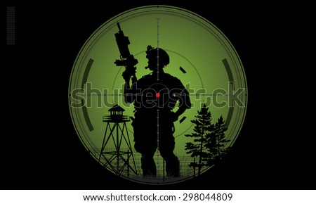 Vector silhouette of a soldier with a gun in the optical sight - stock vector