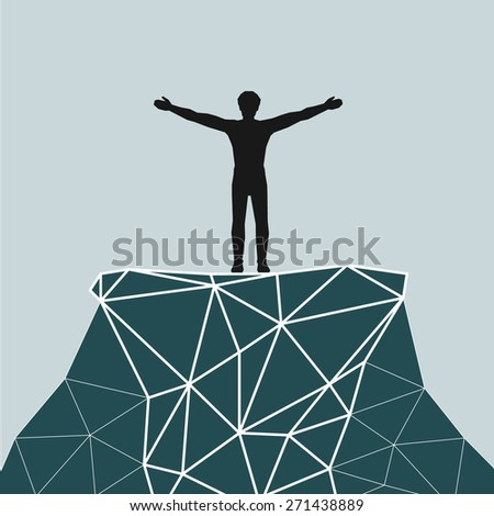 Vector silhouette of a successful mountaineering on a mountain summit. Vector illustration scale to any size. All elements are grouped. - stock vector