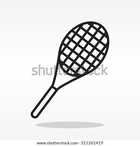 Vector silhouette of a tennis racket - stock vector
