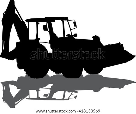 Vector silhouette of a tractor of road service - stock vector