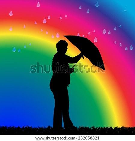 Vector silhouette of a woman in the rain on a rainbow background.