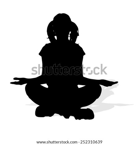 Vector silhouette of a woman on a white background.