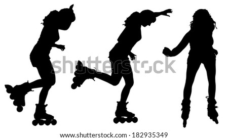 Vector silhouette of a woman on roller skates on white background.