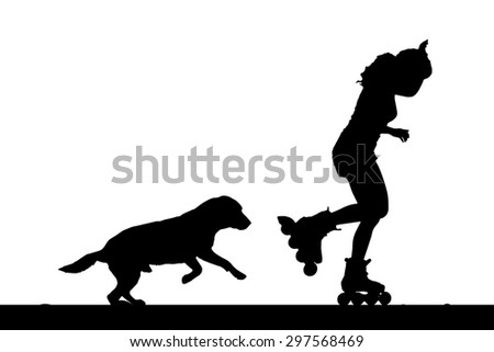 Vector silhouette of a woman on rollerblades with his dog.