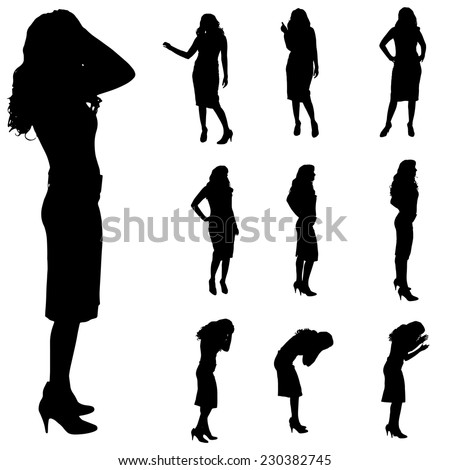 woman on white background  Sad Group Of People Black And White