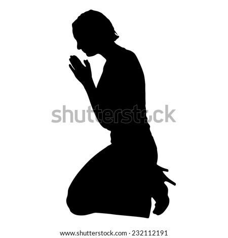 Vector silhouette of a woman praying on a white background. - stock vector