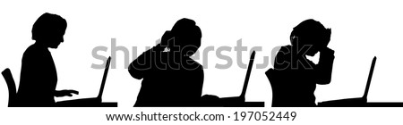 Vector silhouette of a woman sitting at a computer on a white background. - stock vector