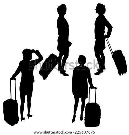 Vector silhouette of a woman traveling with a suitcase.