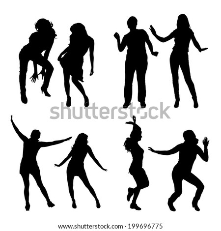 Vector silhouette of a woman who dance.