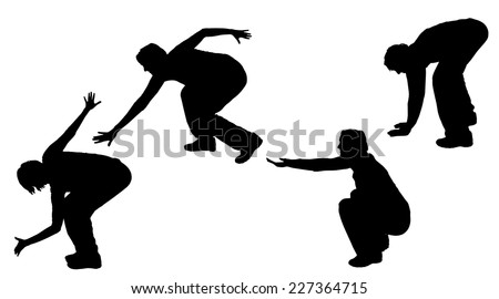 Vector silhouette of a woman who dances.