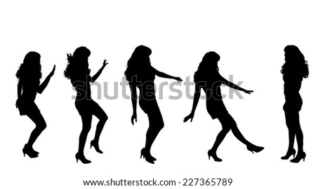 Vector silhouette of a woman who is at the party.