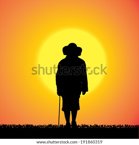 Vector silhouette of a woman who is outdoors at sunset.